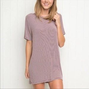 Brandy Melville | Luana Burgubdy Striped Tee Dress